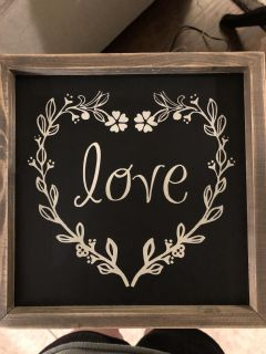 Chalkboard love sign 10.25 x10.25 inches