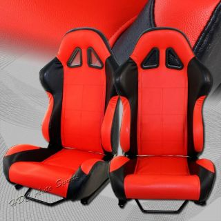 Buy TYPE-5 Black/Red PVC Leather Sport Reclining Racing Seat + Slider Universal 2 motorcycle in Walnut, California, United States