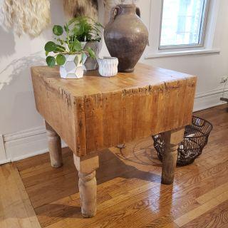 primitive butcher block table.