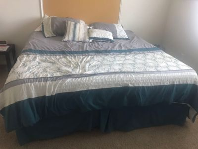 King size bed with bedding