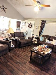 3 piece couch set rustic charming, everything reclines. Except where the love pillow is!