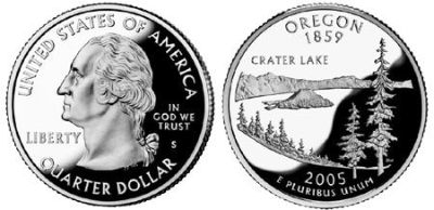 Oregon Crater Lake 2005 Quarter 25c USA Coin -Collectors