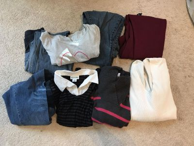 8 maternity items large pants tops sweater