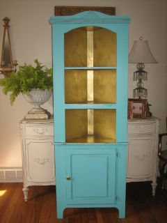 cottage chic TURQUOISE and gold corner cupboard