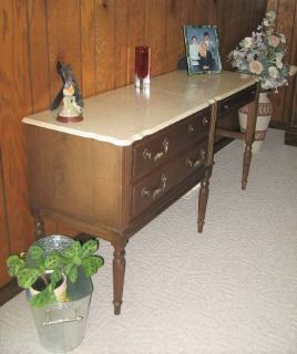 Vintage Wood Desk with Cultured Pearl Top - Unique