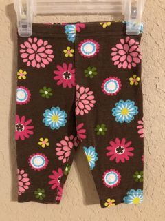 Brown Flower Leggings Pants. Nice Condition. Size 3-6 Months