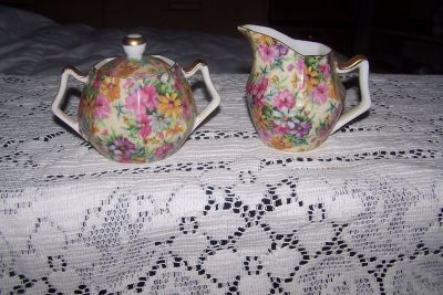 Chintz Creamer and Sugar Bowl