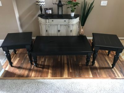 Black coffee table and 2 end tables