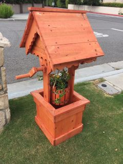 Handcrafted Redwood Wishing Well - 4ft tall