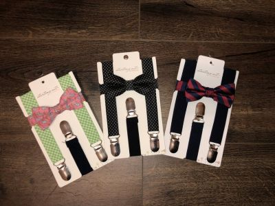 Baby boys bow ties & suspenders sets