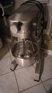 Gray stainless steel stand mixer