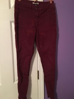 Maroon high rise jeans