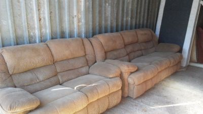 Couch and loveseat with recliners