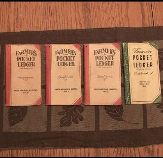 Farmer's Pocket Ledgers ~ Local IL John Deere Implement Dealers: 1930s, 1940s, & 1950s - PRICED INDIVIDUALLY - FOUR Available