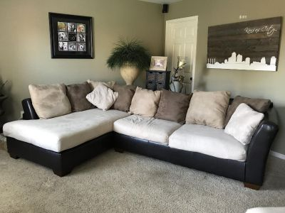 Ashley sectional, chair and a half and ottoman