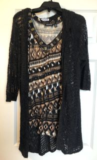 Maurices black sweater w/hood and top SZ XXL