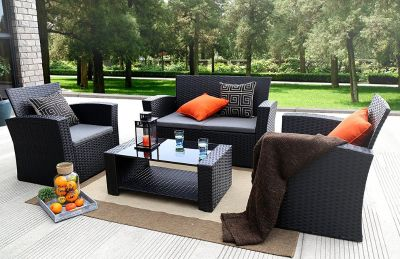 Azure Sky N87 Outdoor Furniture Complete Patio 4Piece Cushion Pe Wicker Rattan Garden Set, (N87-...