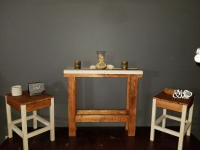 Antique White and Walnut table set