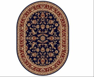 "New oval rug 5'3x7'3"" Tayse Rugs Sensation Sariya Oval Navy Blue Area Rug."