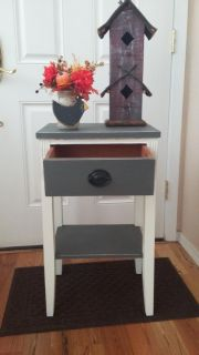 Grey/White chalk painted side table