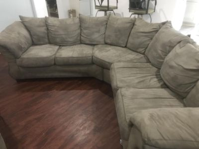 Used, micro suede, grey couch