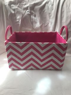 Small pink and white chevron basket