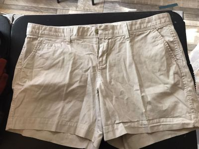 Old Navy size 14 soft khaki shorts one spot on the back. Excellent condition otherwise