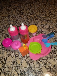 Baby Alive food sets and baby bottles