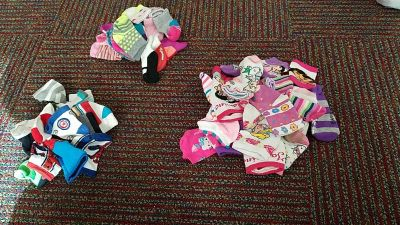 All types of socks that could be used for craft projects!!