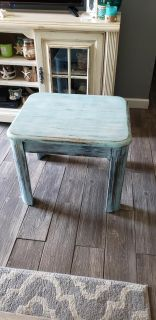 Small wood chalk painted end table