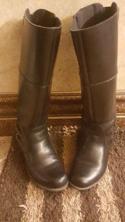 Clarks Leather Tall Black Boots Size 10