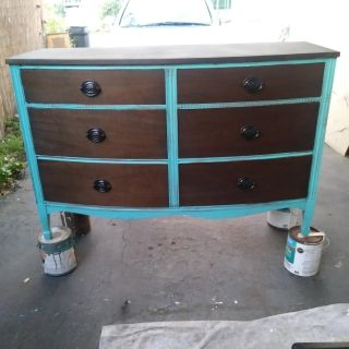 Teal and stained 6 drawer dresser