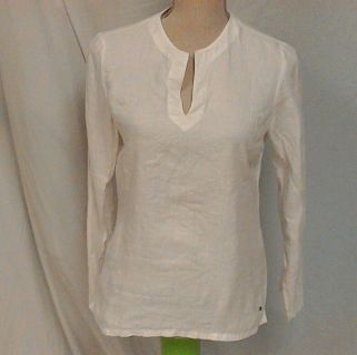 Tommy Hilfiger White Smock Tunic Women's Blouse Shirt Knit Top sz 6 Blemish