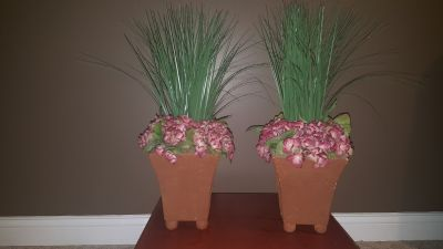 Faux plants with grass