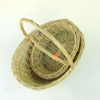 VTG OVAL WILLOW WICKER BASKETS: SET of 2