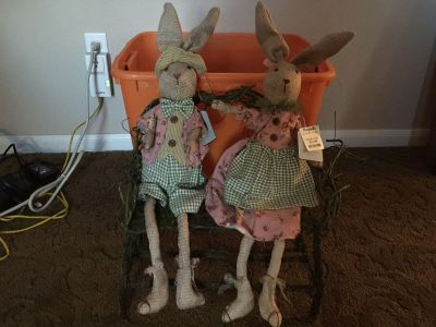Boy and Girl Bunnies on willow bench