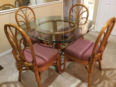 $120, Glass-Top Kitchen Set with 4 Refinished Chairs