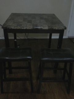 $150, Dining Table and Two Stools, Very Warm, Dark Wood.