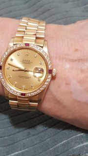 18K gold rolex president diamond /ruby/bez.