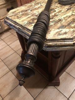 Large wood curtain rod with finials and rings