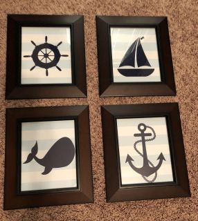 4 Nautical Pictures in 8x10 Frames