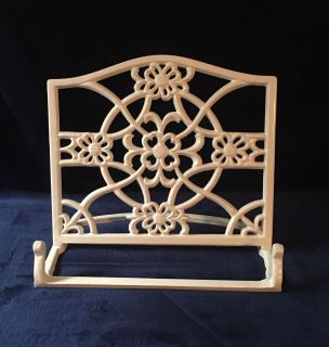 Retro Scrolled White Cast Iron Book Stand