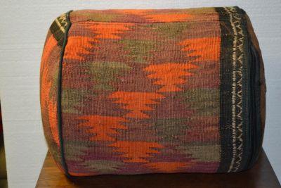 Antique Kilim Sitting Stool / Rug Upholstered O...