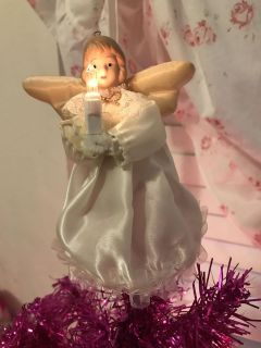 MINI XMAS TREE LIGHTED ANGEL TOPPER! VINTAGE EXCELLENT CONDITION!
