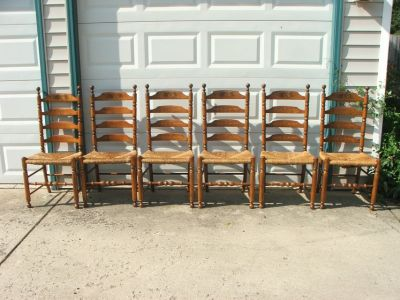 Hitchcock Early American Woven Rush Seat Ladder Back Chairs Set of 6