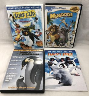 Happy Feet Surfs Up Madagascar March of the Penguins Movies DVD's kids children's movies