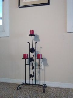 Wrought Iron Standing Candle Holder FREE NEW CANDLES