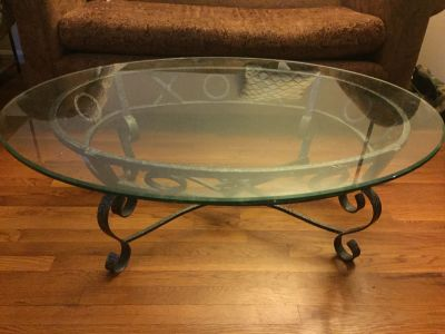 Coffee Table - Heavy Glass, Steel Base