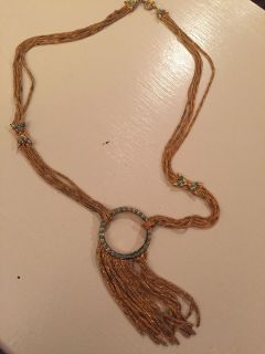 Awesome vintage turquoise necklace (brassy color)