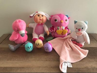Carter s flamingo, Cabbage Patch baby, Owl rattle, Carter s lovie, weeble wobbles